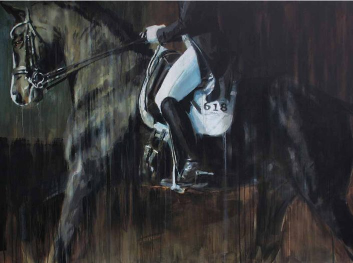 Large abstract horse art on canvas
