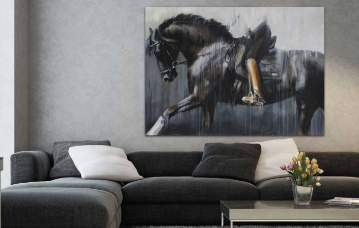 Abstract realism horse art and portraits by equine artist Vanessa Whittell for equestrian style interiors