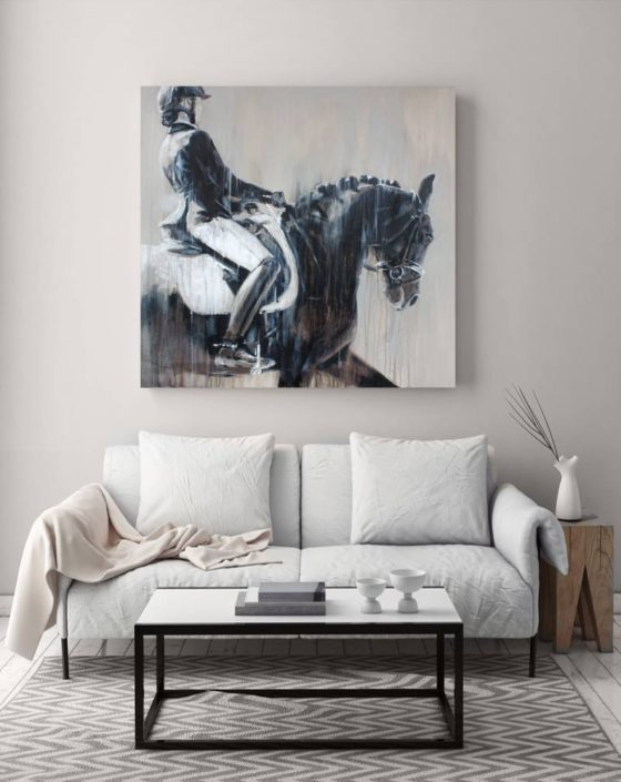 Modern tonal dressage horse art by horse artist Vanessa Whittell for equine inspired interiors