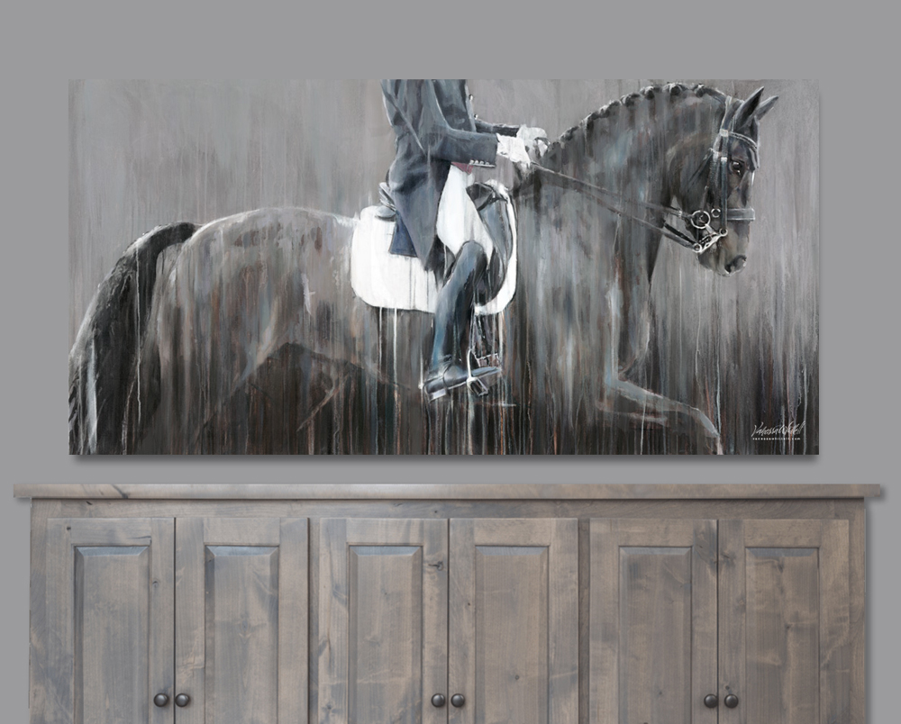 Contemporary painting of Carl Hester riding Hawtins Delicato - large scale dressage prints by equine artist Vanessa Whittell.