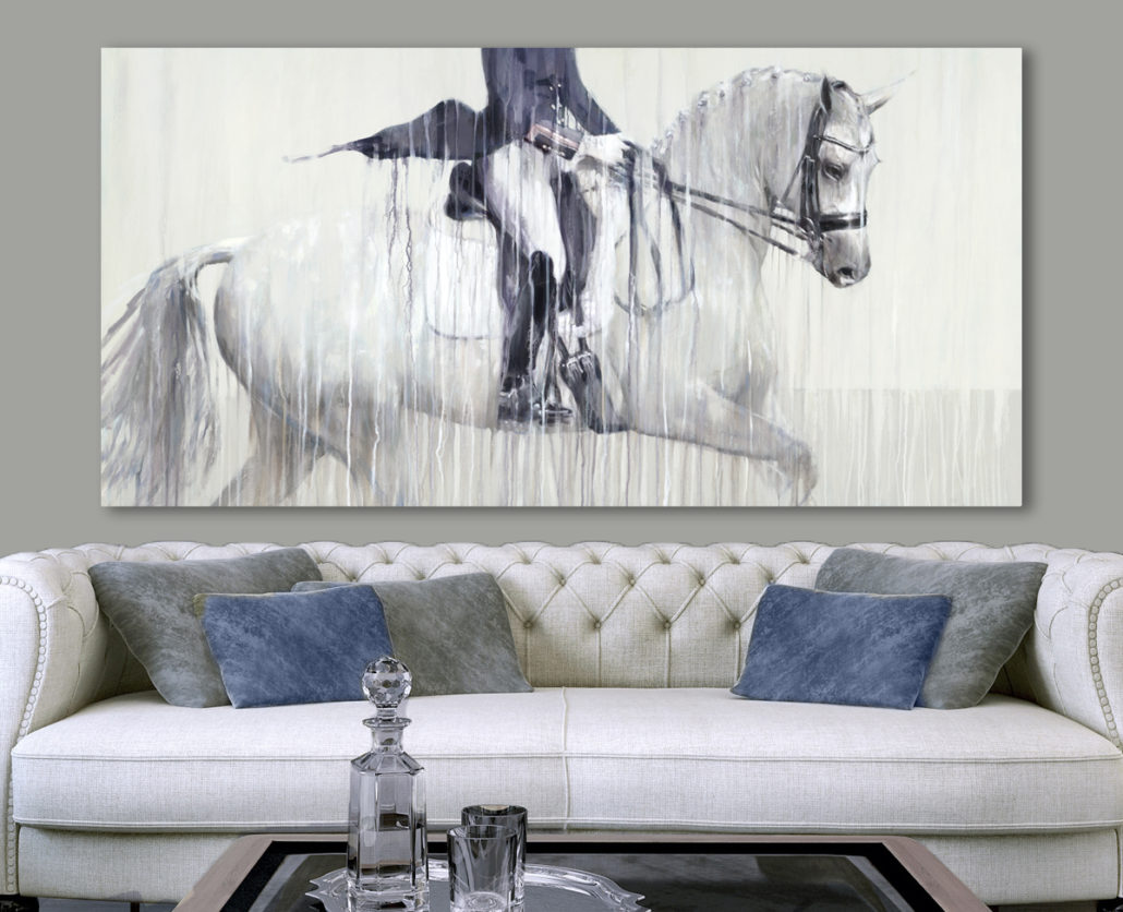 Contemporary painting of Charlotte Dujardin riding Florintina - large scale dressage prints by equine artist Vanessa Whittell.