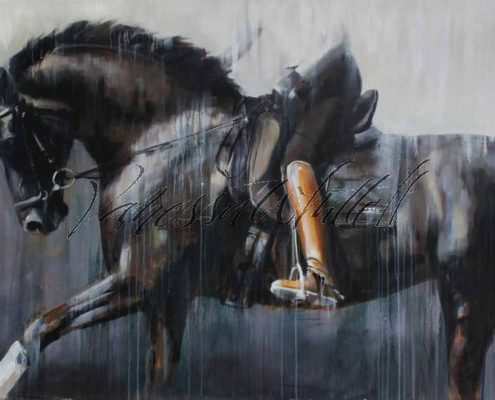Dressage abstract horse art from video of Vancouver training dressage with Rebecca Garrard