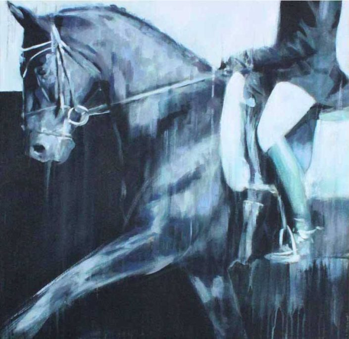 Dressage horse painting commission portrait - prize for local dressage rider at Rising Stars Youth Dressage Show, Abbotsford, BC Canada