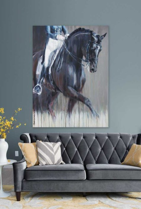 Dressage horse painting modern style equestrian homedecor by equine artist Vanessa Whittell Photo reference Susan Stickle
