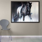 dressage horse painting of eleanor klawer on dantesse by artist Vanessa Whittell