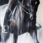 Equestrian Commission Portrait Of Eleanor Klawer On Dressage Horse Dantesse By Equine Artist Vanessa Whittell (detail 1)
