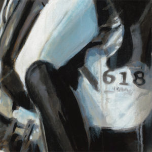 Glint and Glamour detail of dressage abstract horse painting on canvas print by Vanessa Whittell