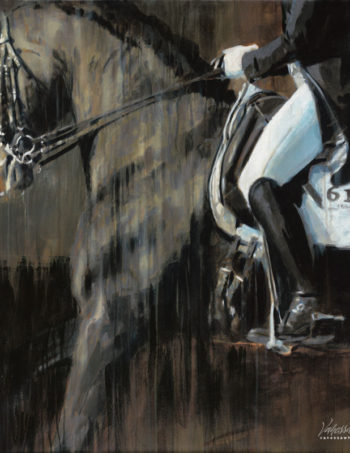 dressage abstract horse painting on canvas print by Vanessa Whittell