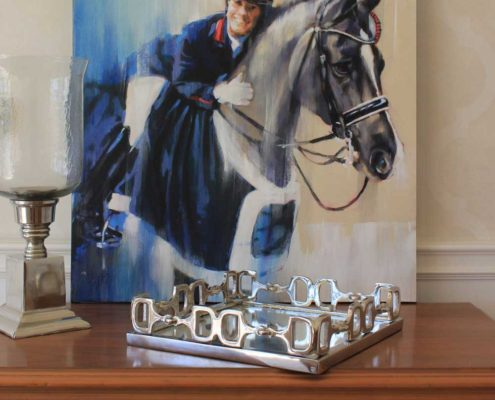 Dressage horse painting of charlotte dujardin and valegro by equine artist vanessa whittell (equestrian homedecor)