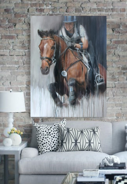 horse-trials-eventer-eventing-modern-painting-portrait-commission-vanessa-whittell
