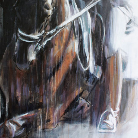 large canvas painting of dressage horse by equine artist Vanessa Whittell for your horse art collection