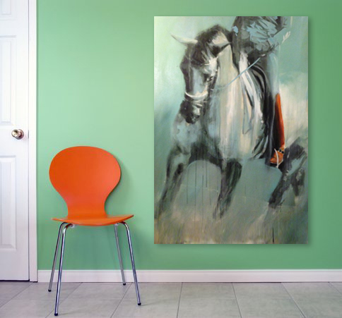 Modern abstract horse art by dressage equine artist Vanessa Whittell for equine inspired style