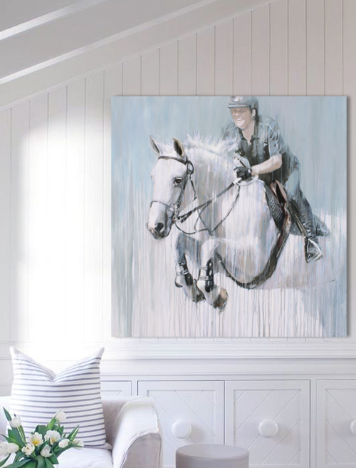 show jumper grey gray horse portrait thunderbird commission by Vanessa Whittell