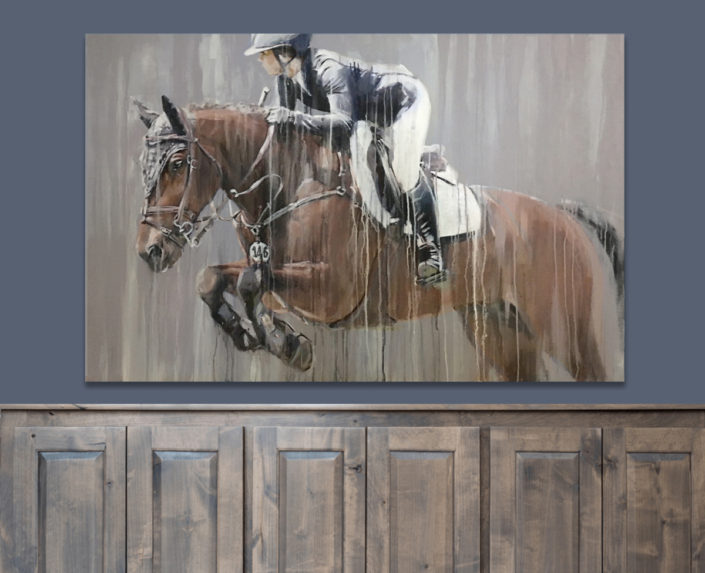 Show jumping painting in modern contemporary style by equine artist Vanessa Whittell horse portraits.