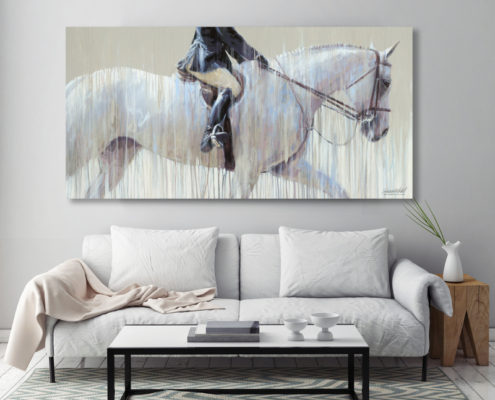 Home decor image from Thunderbird summer horse show - a beautiful hunter round captured in acrylic on canvas by Vanessa Whittell