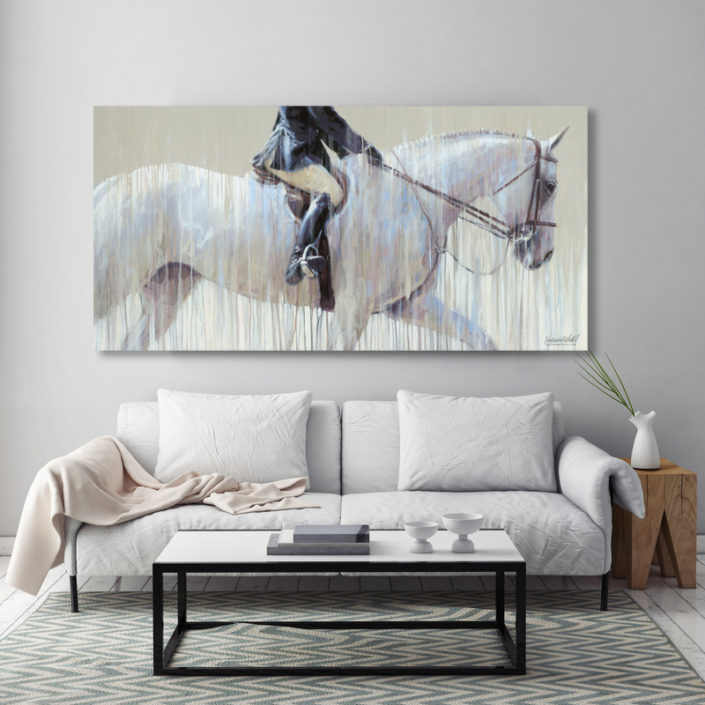Contemporary horse painting: thunderbird horse show - hunter division