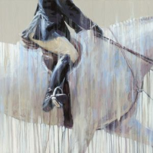 thunderbird summer horse show - a beautiful hunter round captured in acrylic on canvas by Vanessa Whittell