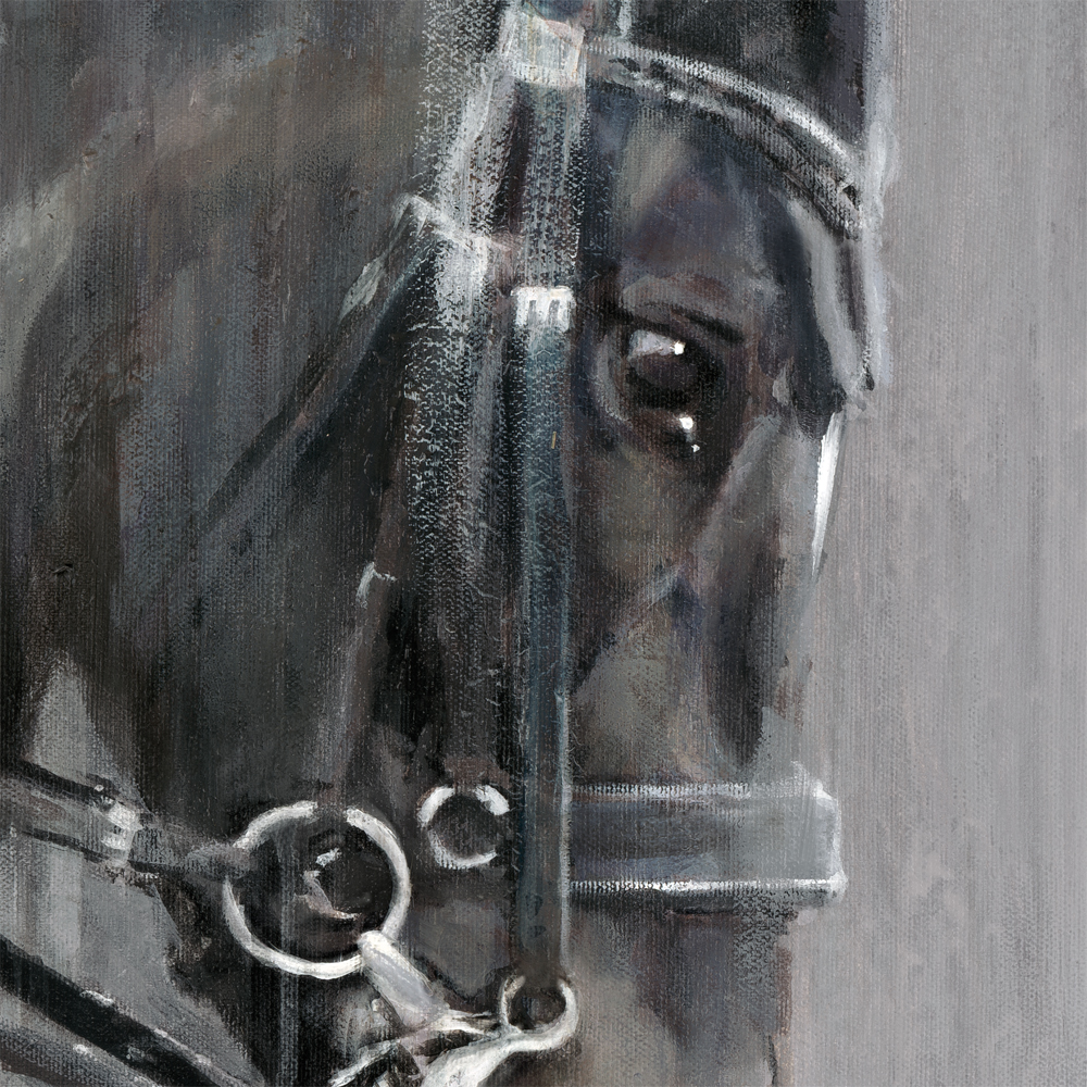 "Detail from ""The Master"" Contemporary acrylic painting of Carl Hester by equestrian artist Vanessa Whittell. Photo reference www.daydreamequineart.co.uk"